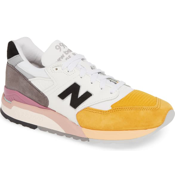 39eb7fb921936 New Balance Men's Made In The Usa 998 Low-Top Sneakers In Orange/ Grey