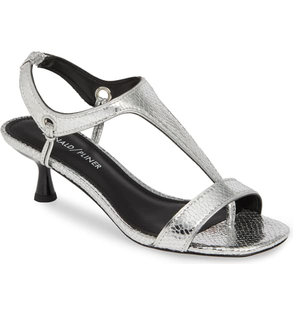 1f15308a698 Caro Sandal in Silver Snake Print Leather
