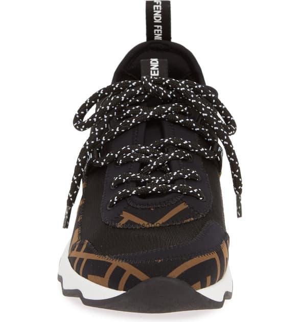 Fendi Freedom Logo-Print AppliquÉD Neoprene And Mesh Sneakers In Black