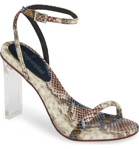 5d7bf3090a32 Jeffrey Campbell Vaccine Clear Heel Sandal In Grey/ Wine Snake Print Leather