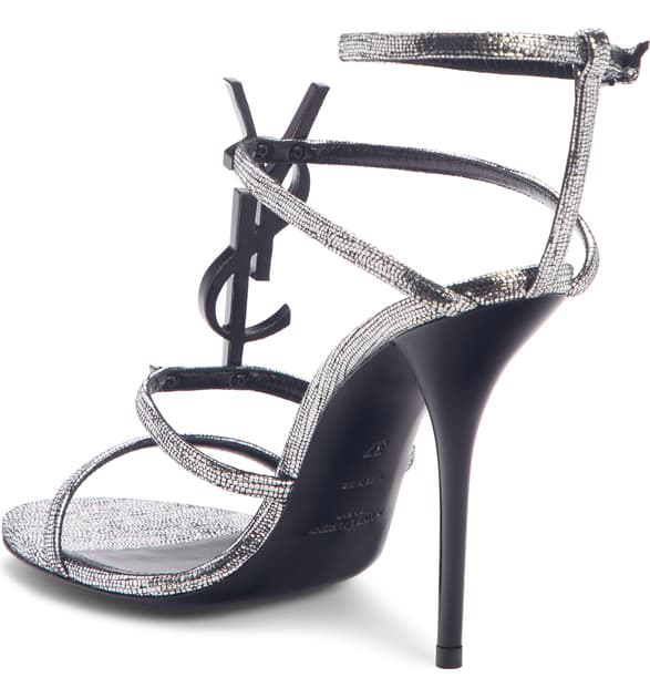 Saint Laurent Cassandra Metallic Leather Sandals In Silver