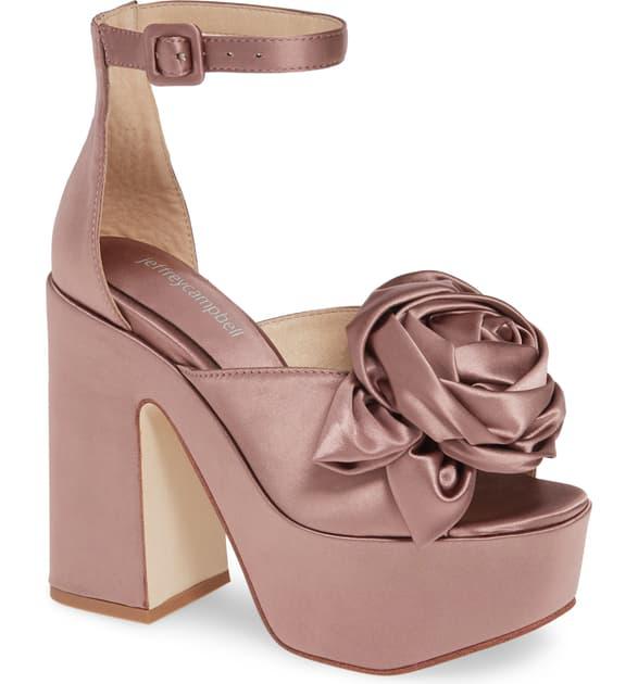 8300ec28b78 Candice Platform Ankle Strap Sandal in Dark Lilac Satin