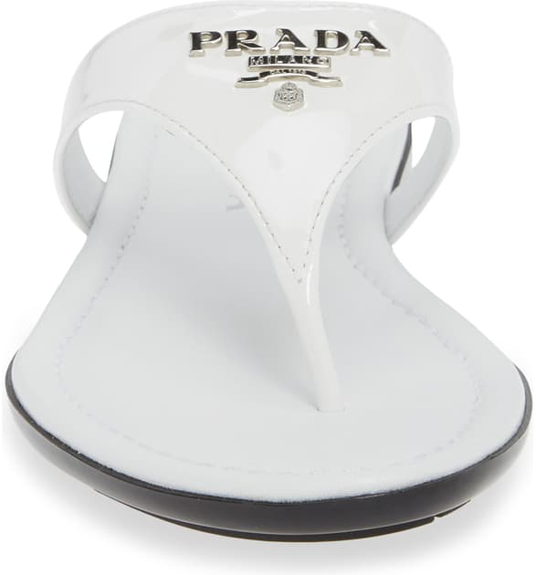 Prada Patent Logo Thong Sandals In White