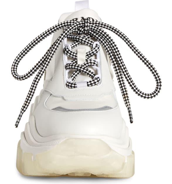 Prada Pegasus Metallic-Paneled Leather And Canvas Sneakers In White