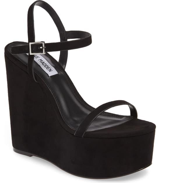 88e9417bdcc Baxlie Wedge Sandal in Black Suede