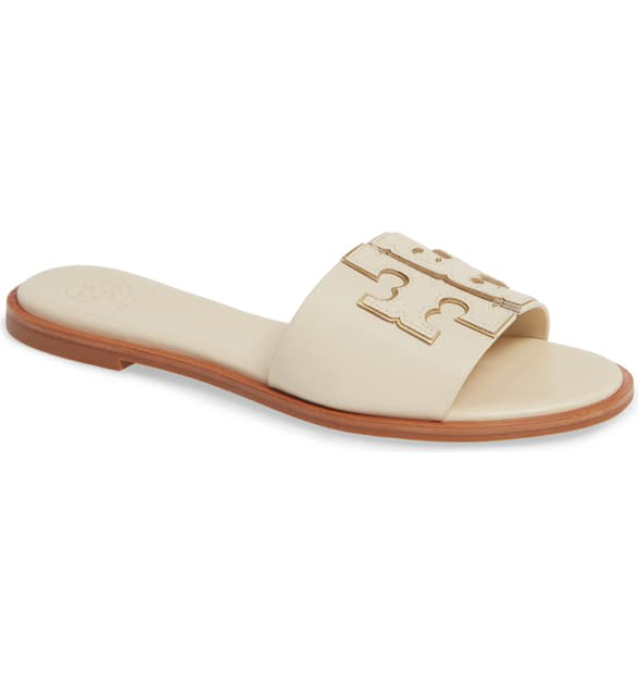 d8b940369613d Tory Burch Ines Leather Slide Sandals In New Cream/ Gold   ModeSens