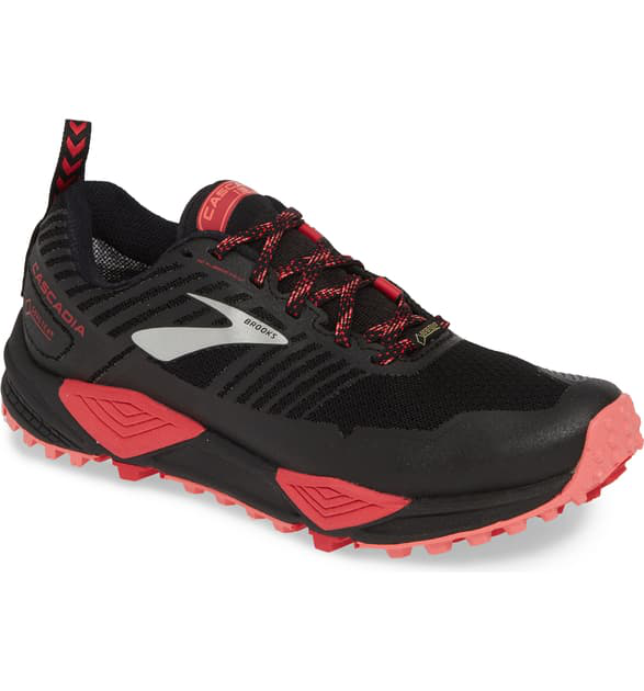 new arrival 07420 5dea9 Cascadia 13 Gore-Tex Waterproof Trail Running Shoe in Black/ Pink/ Coral