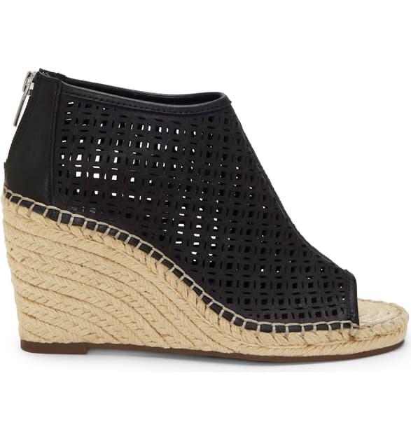 fa6f3785185 Women's Lereena Caged Leather Peep Toe Espadrille Wedge Sandals in Black  Leather