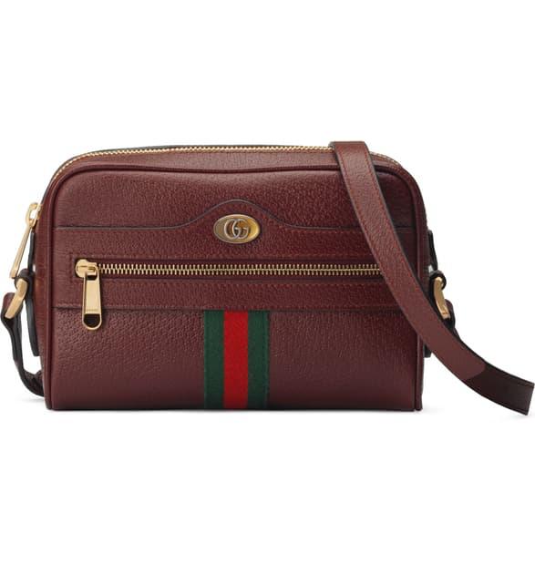 Gucci Mini Ophidia Mini Leather Crossbody Bag - Burgundy In Vintage Bord/ Vert Red Vert