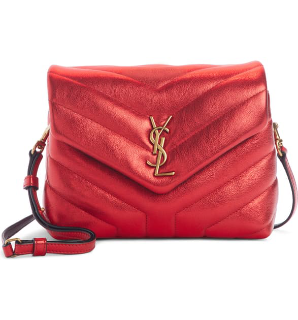 9683a880f66a4 Saint Laurent Toy Loulou Matelasse Leather Crossbody Bag - Red In Rouge  Metal