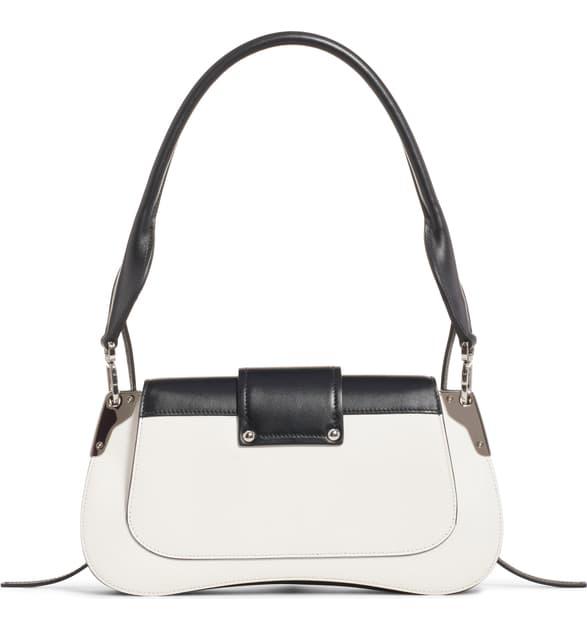 Prada Sidonie Medium Leather Shoulder Bag - Wht.&Blk. In F0964 White/Black