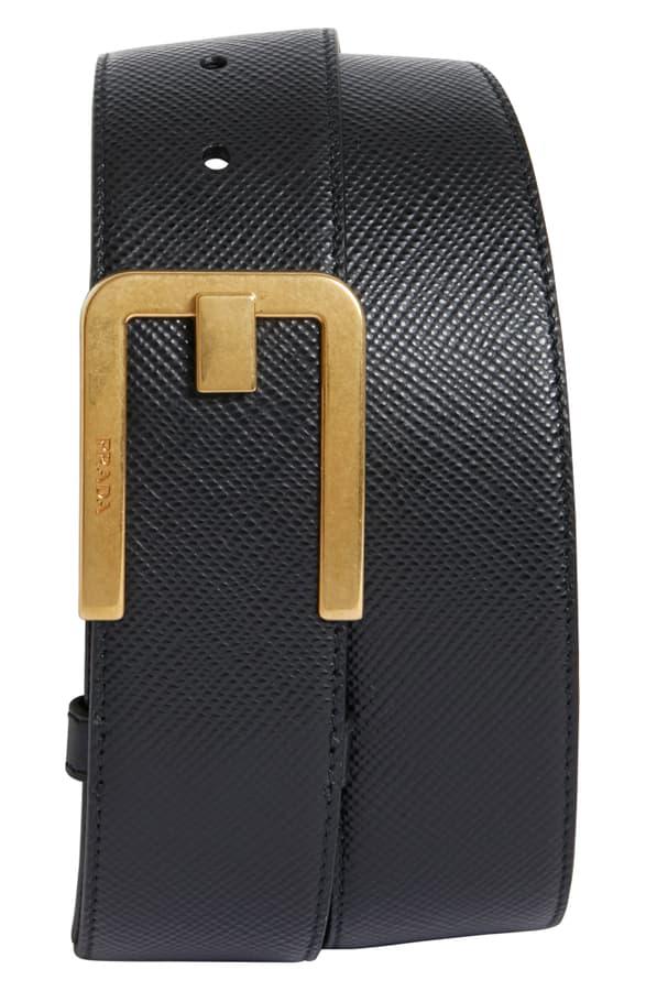 85ea5f8e63 Saffiano Leather Belt in Black And Gold