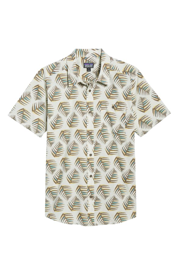 Patagonia Go To Regular Fit Short Sleeve Shirt In Palms Of My Heart Dyno White