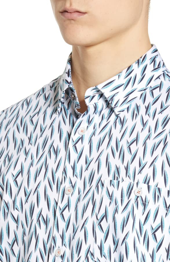 Ted Baker Woolrus Novelty Print Slim Fit Shirt In Turquoise