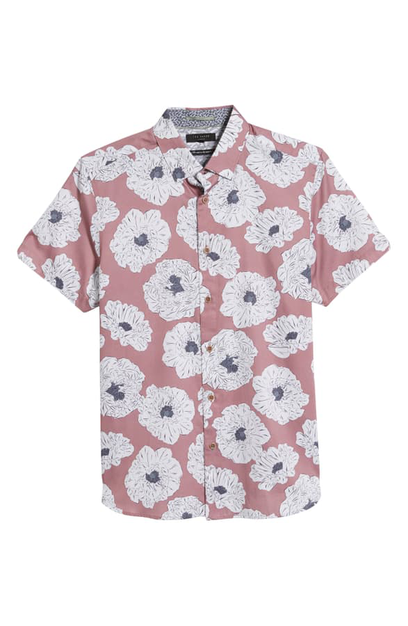 TED BAKER LEAVE SLIM FIT FLOWER PRINT SHORT SLEEVE BUTTON-DOWN SHIRT,MMA-LEAVE-TH9M