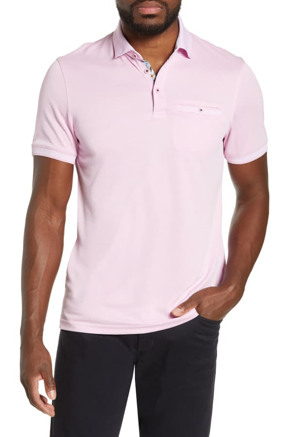 Ted Baker Frog Flat Knit Polynosic Regular Fit Polo Shirt In Pink