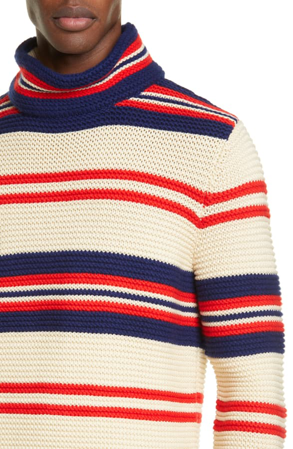 a9db44c81e0 Striped Turtleneck Cotton And Wool-Blend Jumper in Milk Red