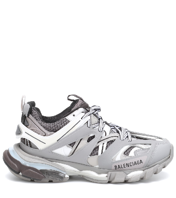 Balenciaga Track Leather, Mesh And Rubber Sneakers In 106 - Grey