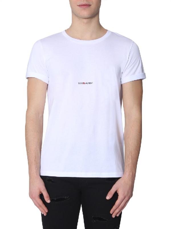 Saint Laurent White Cotton Basic T-Shirt With Logo