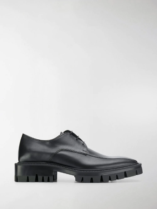 Balenciaga Outdoor Rim Leather Derby Shoes In Black