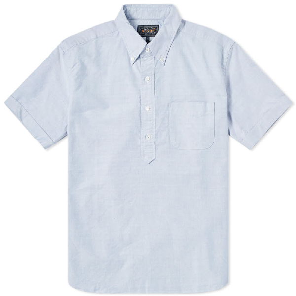 Beams Plus Short Sleeve Popover Shirt in Blue