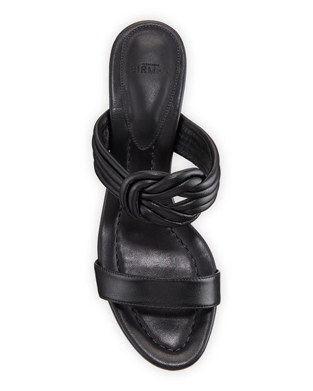 Alexandre Birman Vicky Knotted Leather Block-Heel Sandals In Black