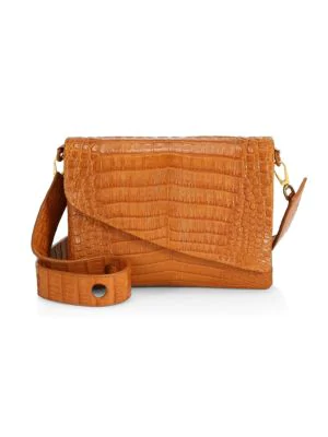 Nancy Gonzalez Large Olivia Crocodile Shoulder Bag In Cognac