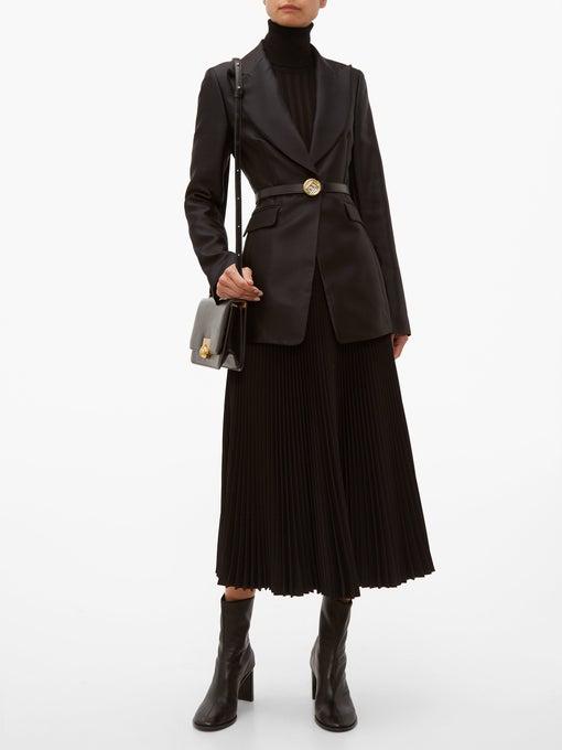 09cd746999 Fendi - Watersnake Monogram Buckle Leather Belt - Womens - Black