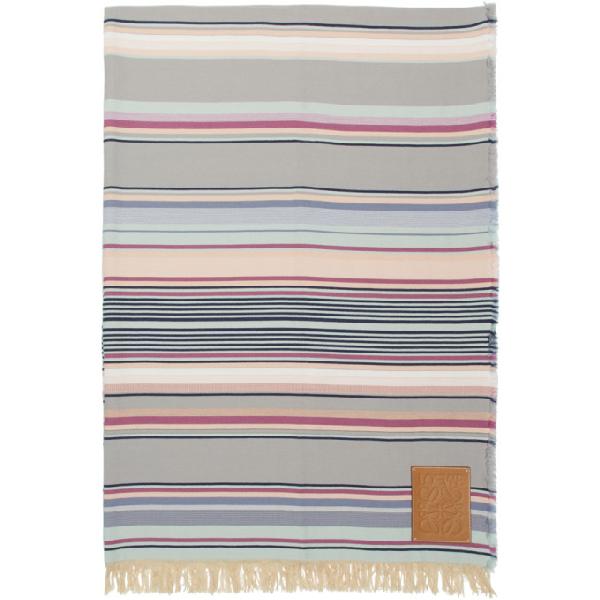 Loewe Multicolor Striped Blanket In 2100White