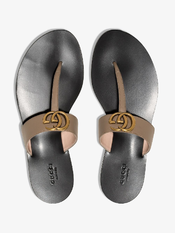 Gucci Leather Marmont Sandals In Brown