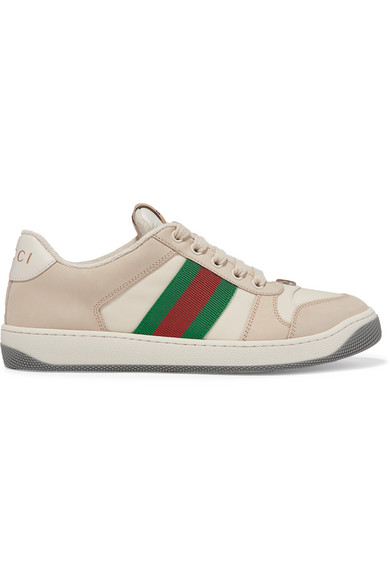 Gucci Screener Canvas-Trimmed Leather Sneakers In Neutrals