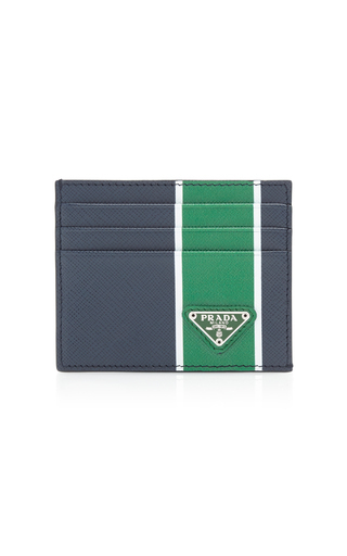 sports shoes ec32a 42c6e Striped Textured-Leather Card Case in Navy