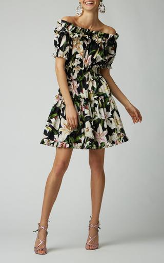 Dolce & Gabbana Off-The-Shoulder Ruffled Floral-Print Cotton-Poplin Dress In Black