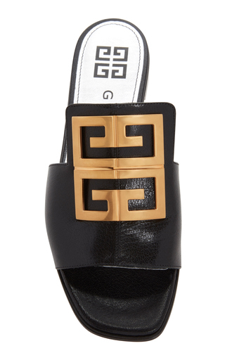 Givenchy Gold-Tone Textured-Leather Sandals  In 001 Black