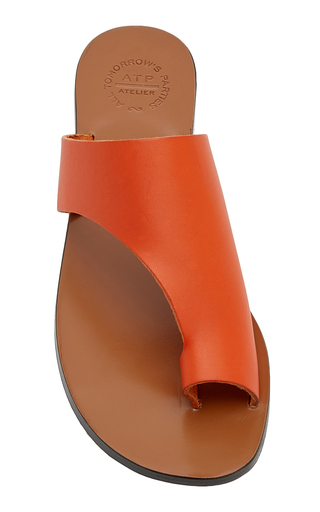 Atp Atelier Rosa Cutout Leather Sandals In Orange