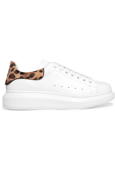 ALEXANDER MCQUEEN CALF HAIR-TRIMMED LEATHER EXAGGERATED-SOLE SNEAKERS