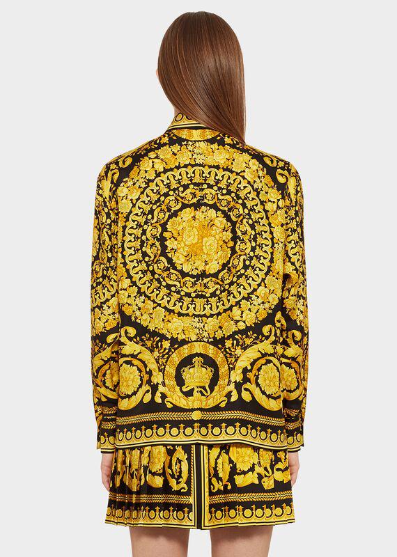 0770254686 Baroque Leopard-Print Button-Front Silk Twill Blouse in Multi