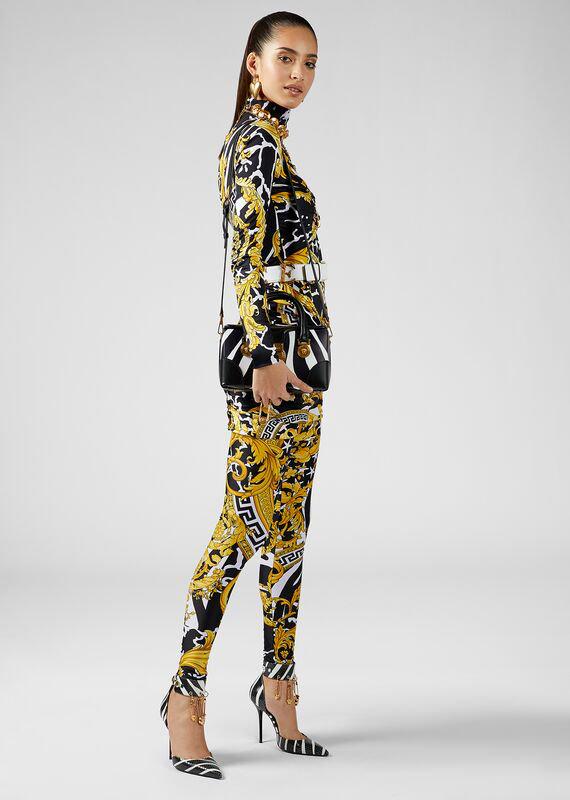 Versace Savage Barocco Print Leggings In Black