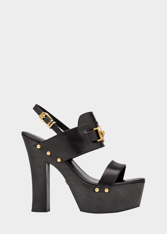 Versace Icon Platform Leather Sandals In K41T Nero Oro