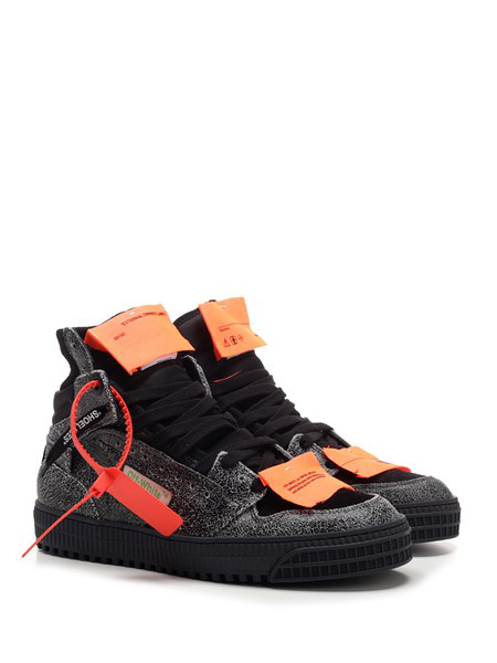 Off-White Off-Court Textured-Leather, Suede And Canvas High-Top Sneakers In 0700 Melange Grey No Color
