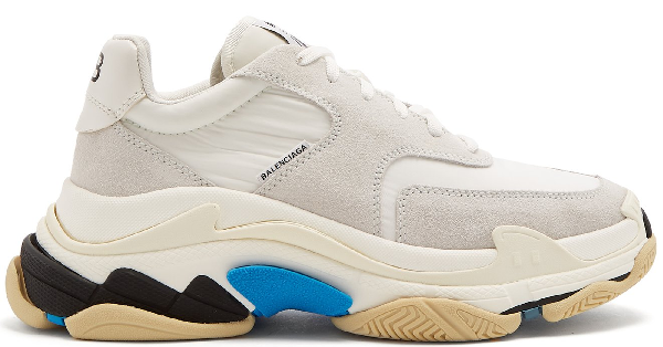 Balenciaga Triple S Logo-Print Leather And Suede Sneakers In White