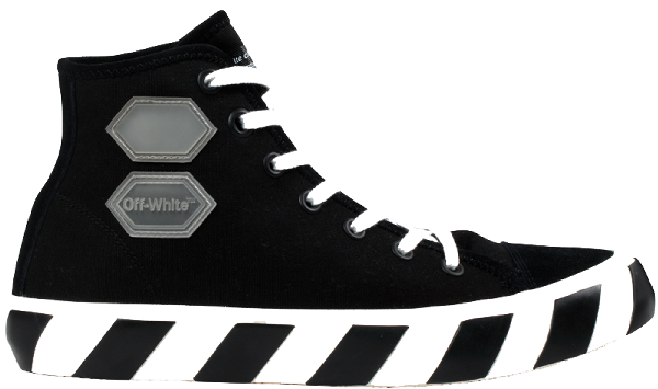 Off-White Striped Cotton-Canvas High-Top Sneakers In Black