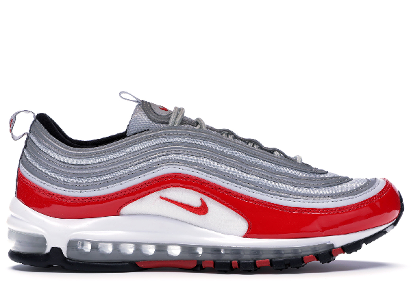 Pre Owned Nike Air Max 97 Pure Platinum University Red In Pure