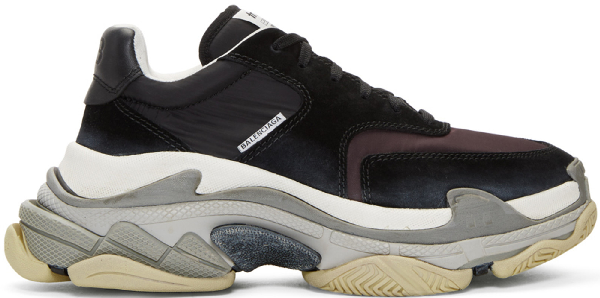 Balenciaga Triple S Nylon, Mesh, Suede And Leather Sneakers In Black