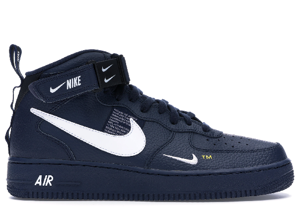 Pre Owned Nike Air Force 1 Mid Utility Obsidian In Obsidian White