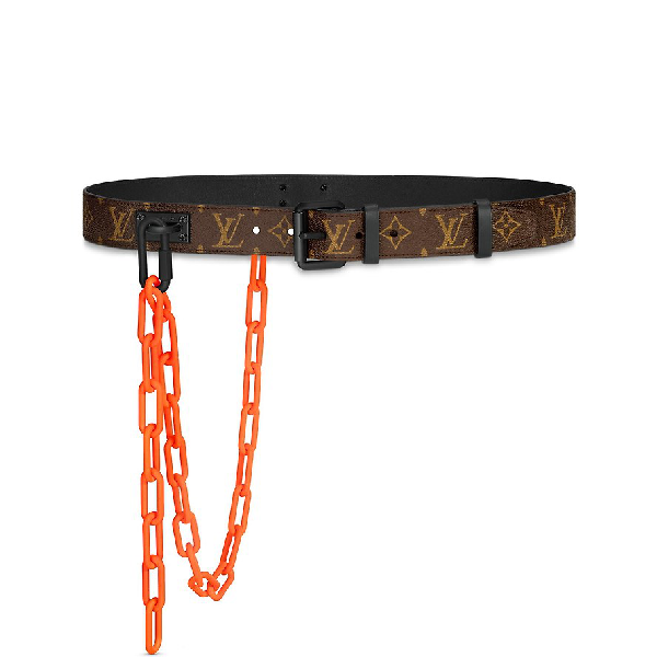 Louis Vuitton Signature Belt Monogram Chains 35Mm Brown/Orange