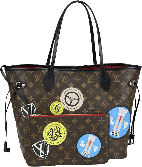 Louis Vuitton Neverfull Monogram World Tour Mm Cerise Lining In Brown/Cerise