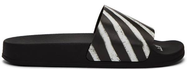 Off-White Men's Spray-Stripe Pool Slide Sandals In Black