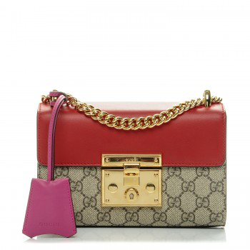 9db47ed0 Gucci Padlock Shoulder Bag Gg Supreme Monogram Push Lock Closure Open Small  In Red/Brown