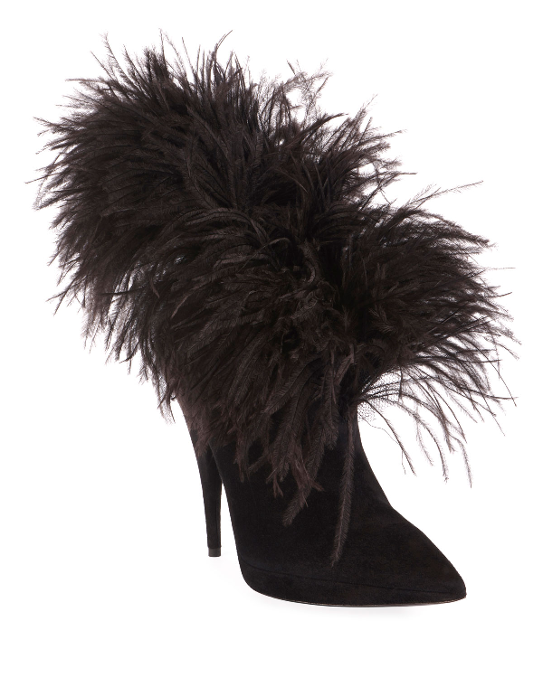 43965893440e4 Zizi Suede Feather Booties in Black